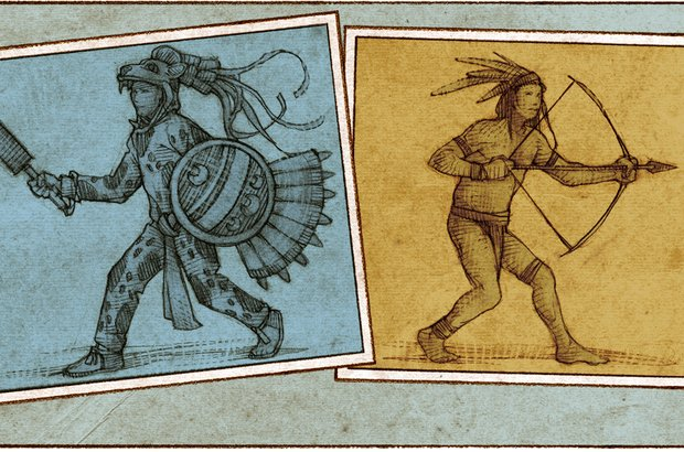 Os rituais dos moradores da América Central <i>(à esq.)</i> indicavam uma cultura mais sofisticada que a dos brasileiros <i>(à dir.)</i>, que caçavam animais silvestres com arco e flecha, conforme a análise dos estudantes. Sandro Castelli