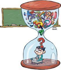 Mais tempo na escola, mas para quê?. Ilustração: Jean Galvão