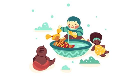 Brincadeira de banho no boneco dos bebês