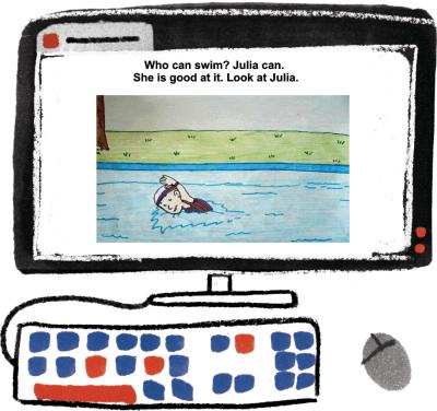 Trechos de Swim Time, uma das narrativas digitais criadas pelos estudantes. Elisa Carareto