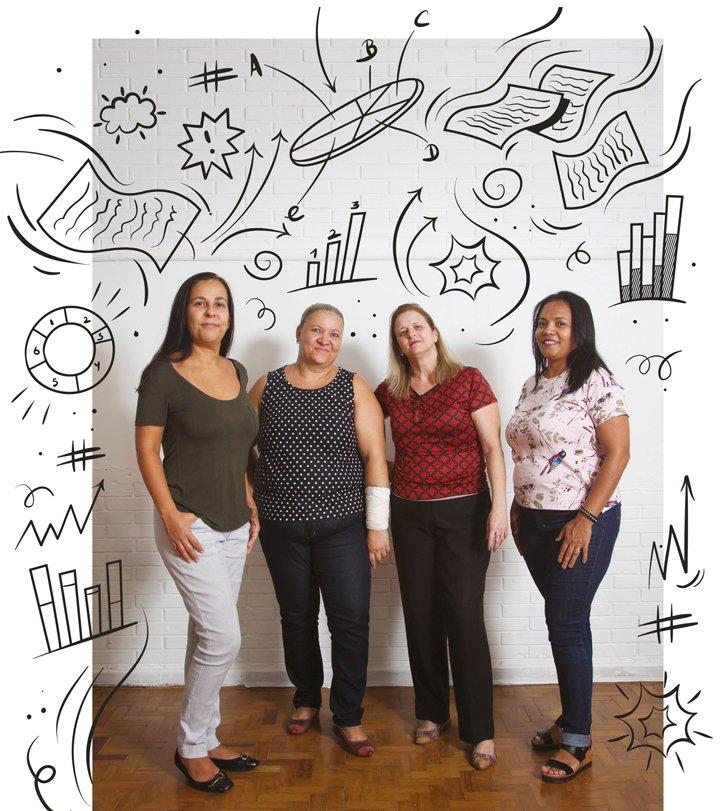 Equipe gestora da EMEF Violeta Doria Lins posa em pé. Ao seu redor, uma ilustração com gráficos, tabelas e setas dá o clima da análise dos dados.