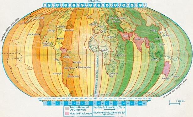 Qual o critério de divisão dos fusos horários? Ilustração Bruno Algarve com base no Geoatlas (Maria Elena Simielli, Ed. Ática)