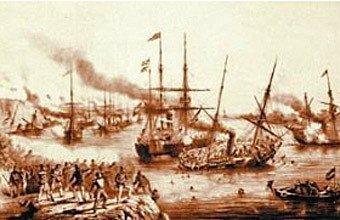 Batalha do Riachuelo: em 11 de junho de 1865, a esquadra brasileira destruiu a paraguaia. Foto: Reprodução da Biblioteca Nacional