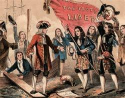 Alegoria do desembarque de Guilherme de Orange na Inglaterra: vitória da burguesia.