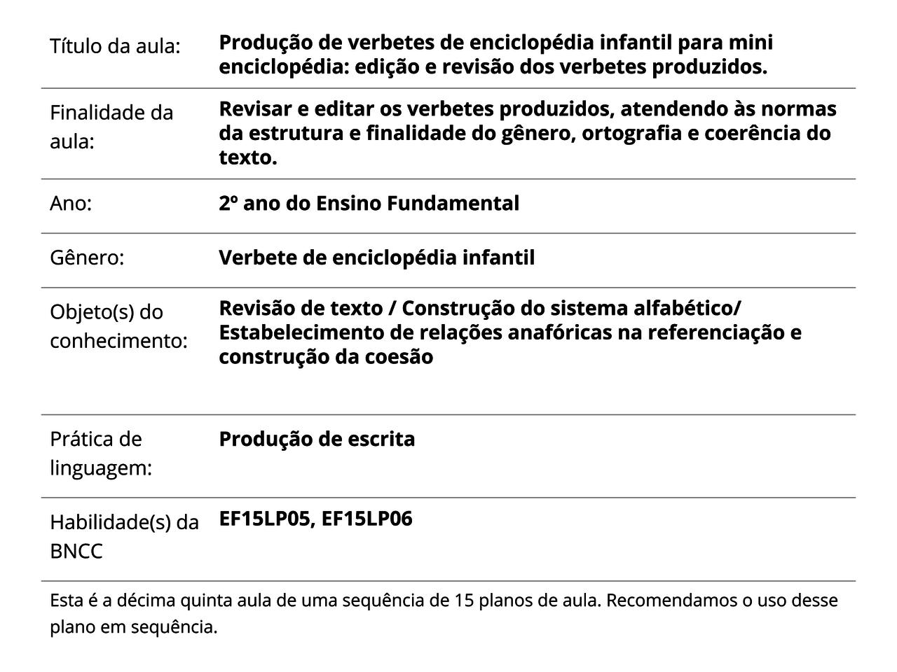 Plano De Aula 2º Ano Língua Portuguesa Produção De