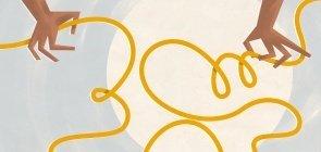 Ilustração de uma corda solta com mãos próximas