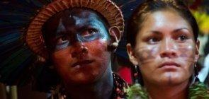Indígena da etnia Bororo Boé, no Brasil, durante a realização dos Jogos Indígenas