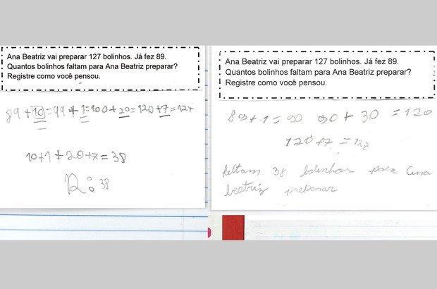 A utilização de novas estratégias potencializou a evolução da classe. Maria Clara e Lívia, por exemplo, adotaram o método da separação e decomposição dos números para solucionar os desafios. Paulo Vitale. Reprodução