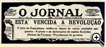 1922 - Levante do Forte de Copacabana. O Jornal. Foto: Reprodução