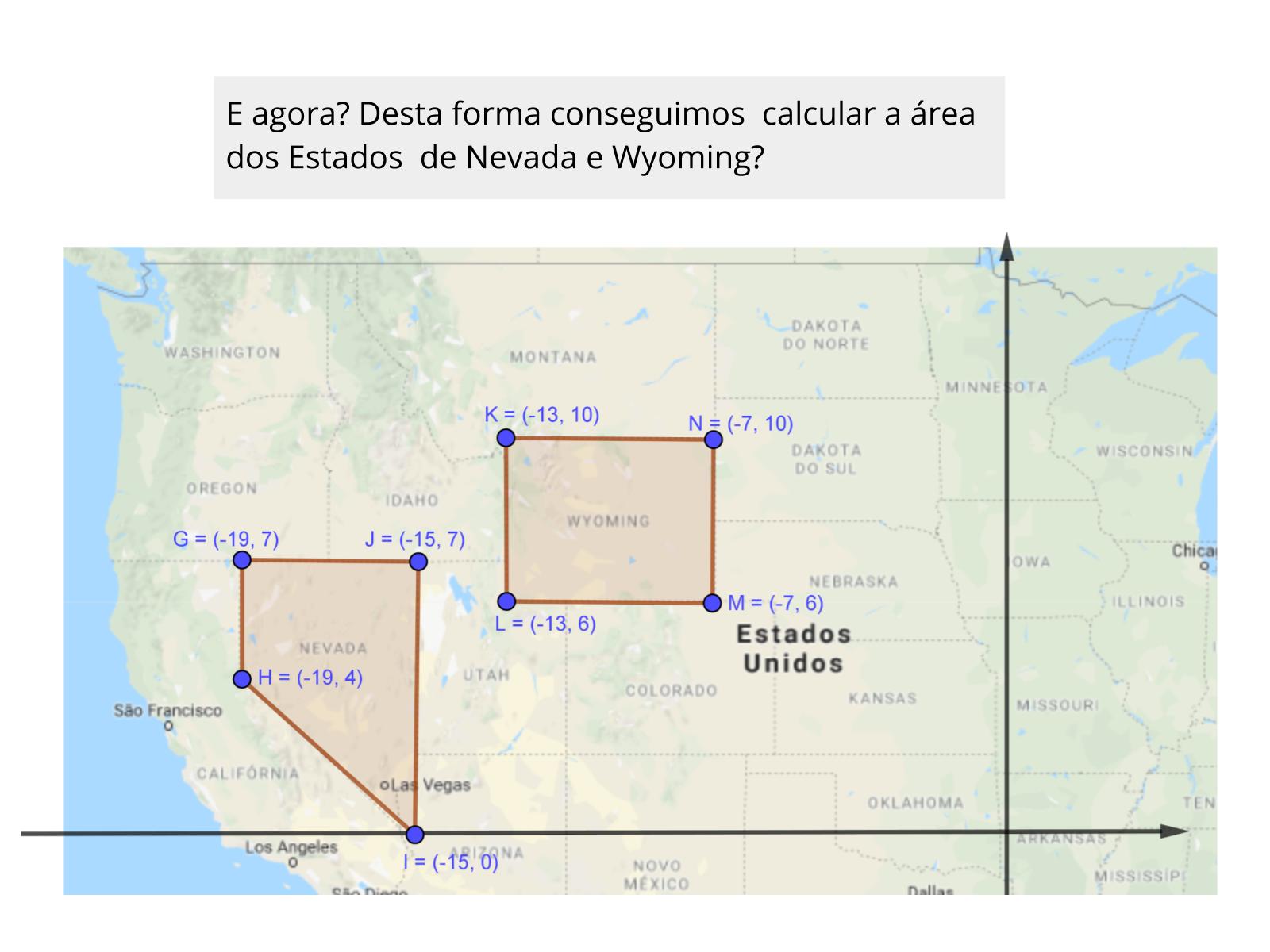 Utilizando o mapa dos Estados Unidos para calcular a área de figuras planas com o auxílio do plano cartesiano