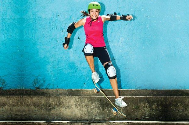 Mariana de Barros ensinou skate na EMEF Maria Aparecida Santos Ranconi. Patrícia Stavis