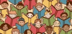 Ilustração com meninos e meninas lendo livro