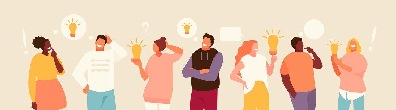 ilustração é composta por um grupo de pessoas com ideias e caixas de diálogo acima da cabeça