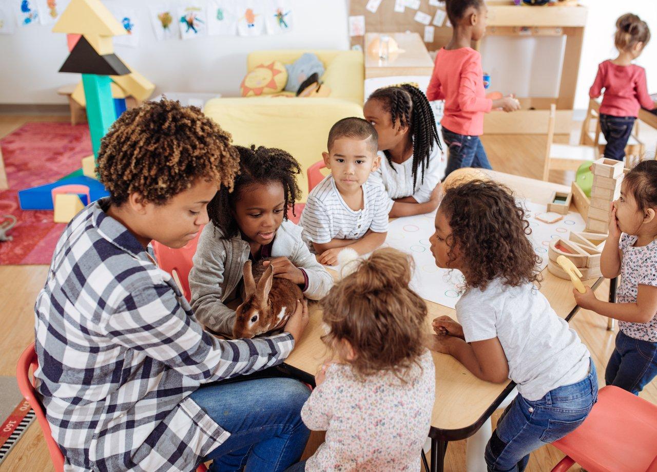 Crianças reunidas em volta de uma mesa baixa de madeira clara examinando um coelho marrom