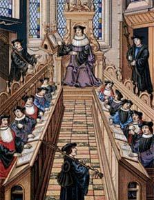 Reunião de acadêmicos na Universidade de Paris, mostrada em gravura medieval: discussões revolucionariam a ciência. Foto: Leonard de Selva/Corbis /Stock Photos