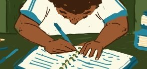 Ilustração de uma criança escrevendo
