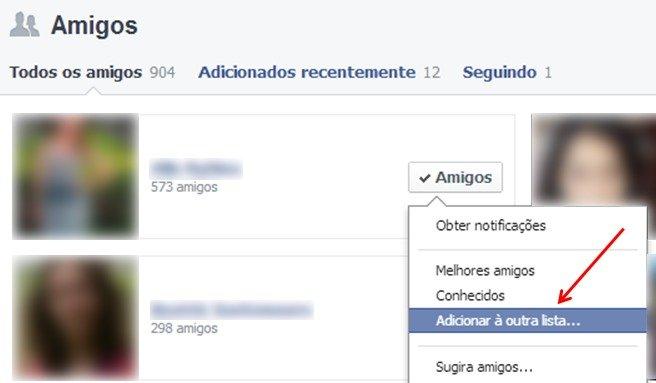 Facebook: lista de amigos