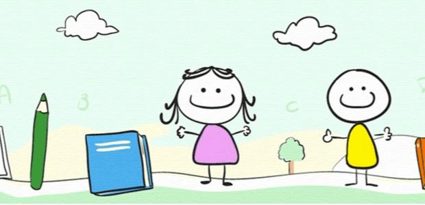 Ilustração de duas crianças e livros. Crédito: Reprodução/Abrinq