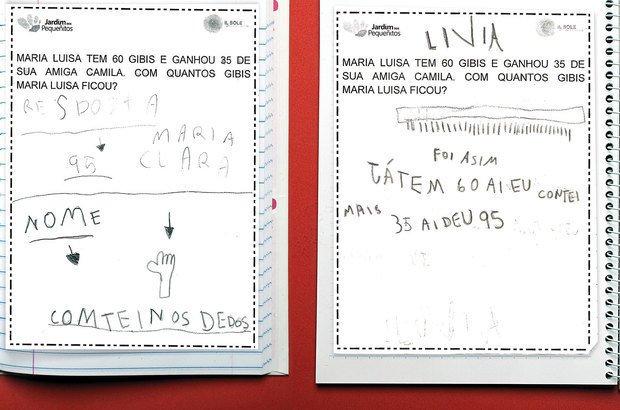 Inicialmente, os alunos usavam a contagem como recurso para a resolução de problemas. Nesta atividade, Maria Clara (à esquerda) optou por realizar a soma contando com os dedos, já Lívia o fez rabiscando pauzinhos. Paulo Vitale. Reprodução